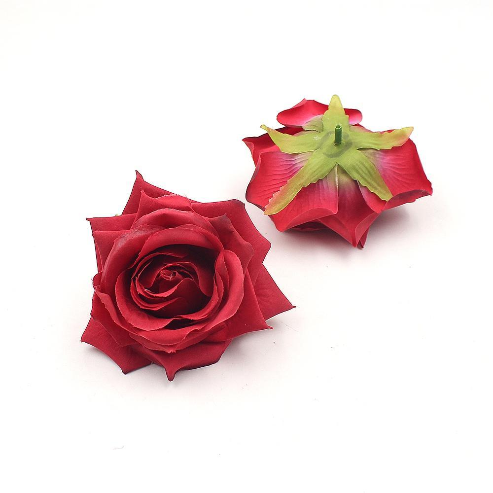 Flores decorativas 20pcs 9 cm de flores artificiales de seda de Rose de la decoración de la cabeza artificial de la boda Rosas Simulación falso Flores