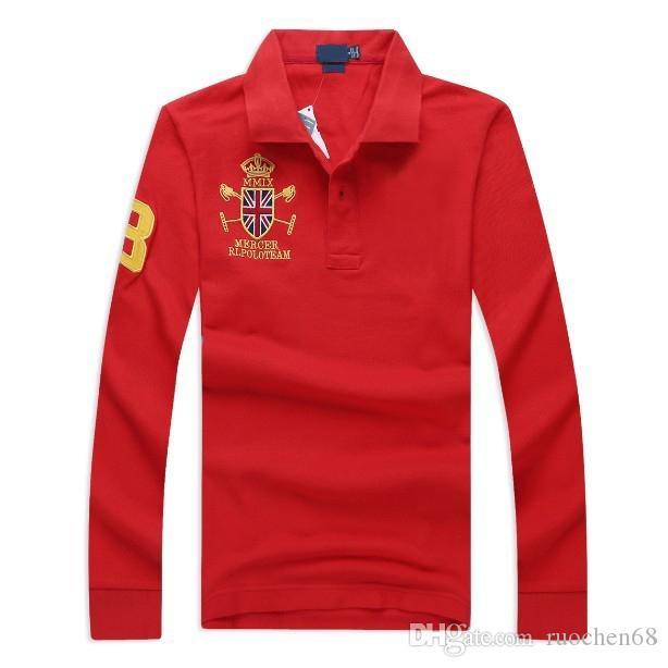 camisa de mangas compridas de alta qualidade golfe de moda camisa dos homens dos homens do esporte camisas casuais masculinos clássicos marca camisa bordada 100% ALGODÃO grande cavalo
