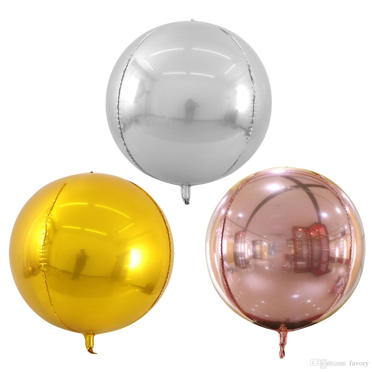 20PCS 22inch الذهب الفضة 4D احباط جولة البالونات الهليوم نفخ بالونات الزفاف حفل عيد ميلاد الطفل Globos ألعاب الديكور