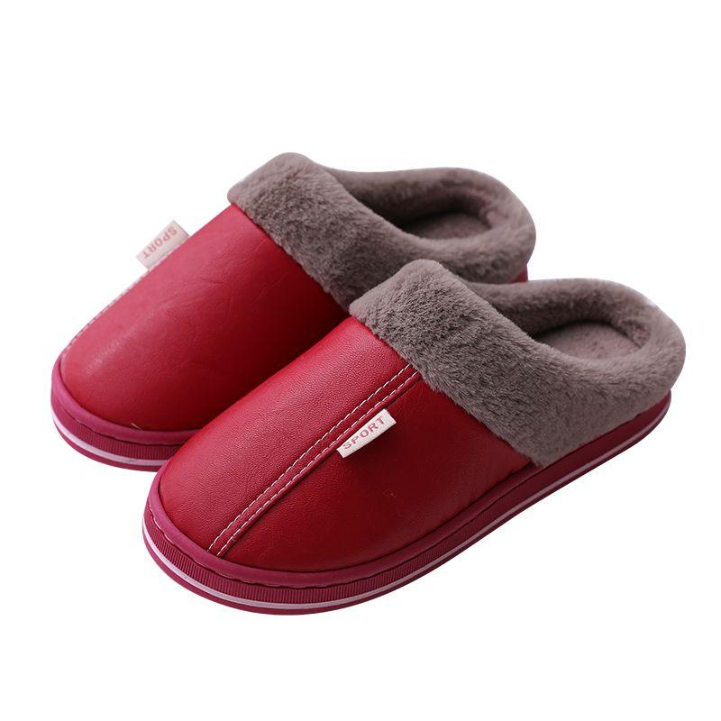 pele PU interface de Slipper casal macho e fêmea interiores e de mobiliário doméstico de algodão grossa piso de madeira sapatos chinelos de algodão
