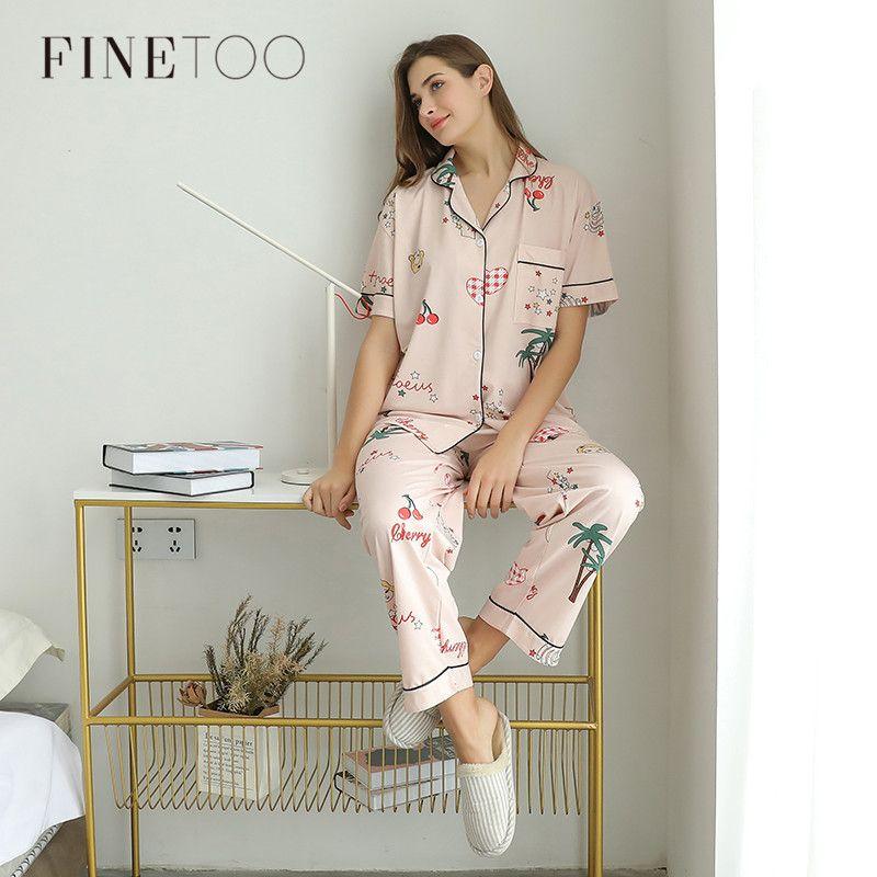 Donne Pigiama Imposta estate brevi vestiti Sleepwear Bella Stampa pigiama di cotone pantaloni lunghi Donna Sleepwear Ladies Home Wear 2019 Y200425