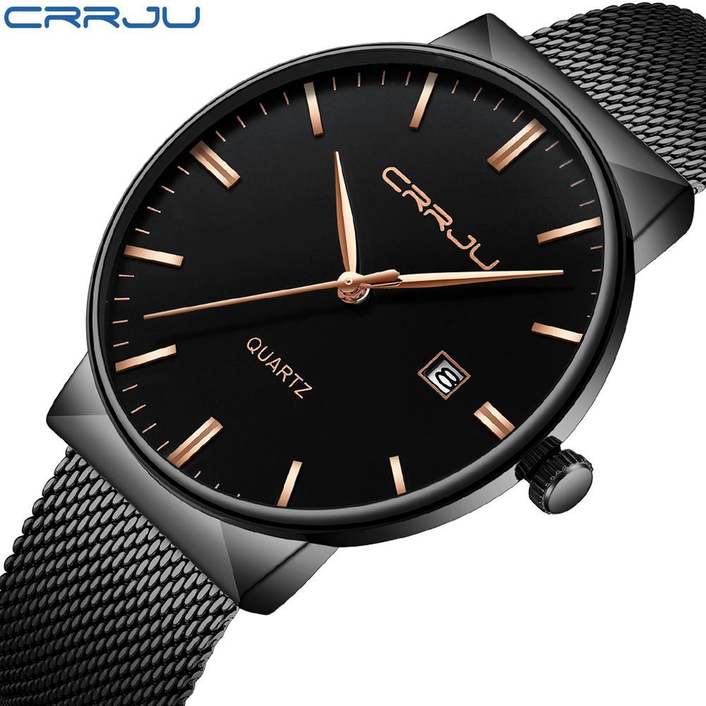 Crrju Новый Ультратонкий Мужские часы +2018 стальной сетки ремень Марка Кварцевые Наручные часы Дата Мода Простые часы Мужчины Relogio Мужчина для