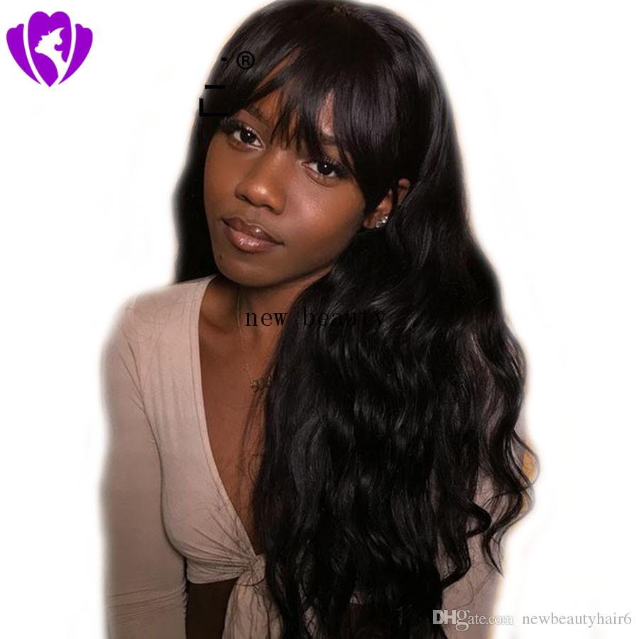 High quality simulation brazilian human hair full wig with bang black/brown/grey long body wavy Wigs for Black Women African American