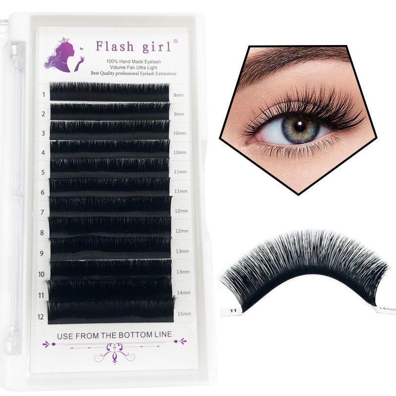 Wholesale custom Flash girl 0.04MM Auto Flowering Eyelash Extensions mink shiny Black And Mixed Length Premade Fan Eyelash Extension C/D Cur