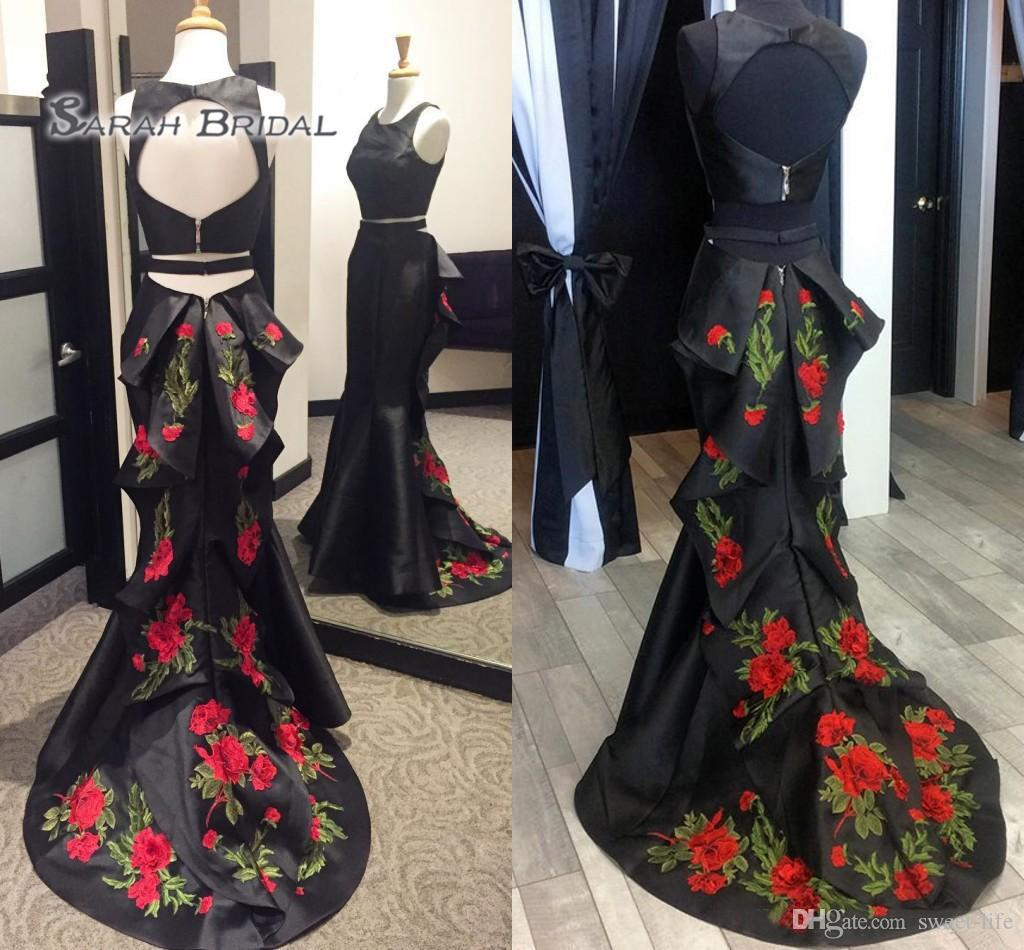 2020 Sexy Black Prom Dress Formal Party Maxi Gown Mermaid Evening Wear Two Pieces Plus Size Satin Appliques Cascading Ruffles Skirt