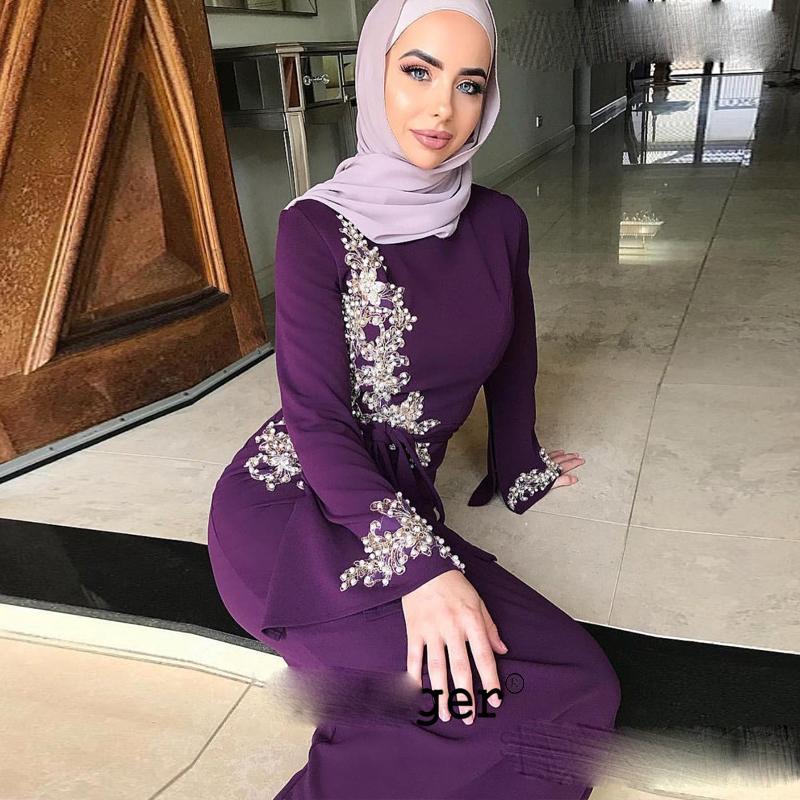 Lila Muslim Satin Abendkleider Prom Lange Arabisch Mit Hajib besondere Anlässe Robe De Soiree Plus Size Abendkleider