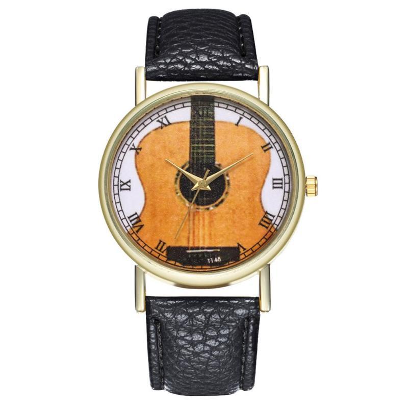 Unique Montre Femme avec bracelet en cuir guitare Motif bracelet Bracelet Quartz Analogique Cadran luxe à la mode Hommes Femmes