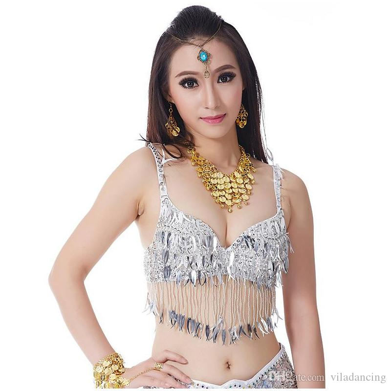 2018 Women Bellydance Clothes Eastern Style Beaded Bra & Necklace 2pcs Set Costumes for Belly Dance Bra with Necklace