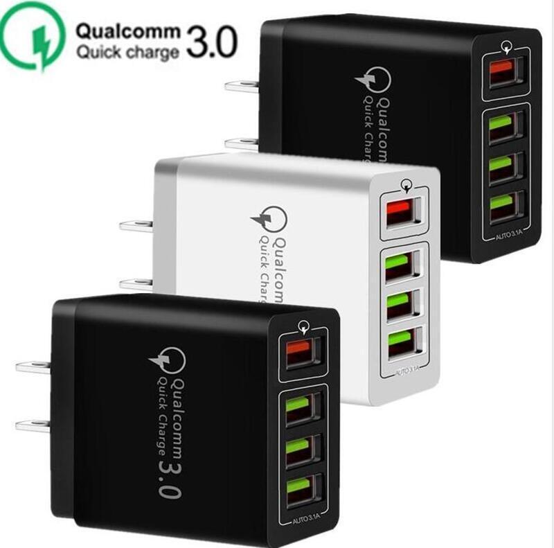 30W 4 portas USB QC3.0 Rápido carregador de parede QC 3.0 carregamento rápido carregador de parede Poder Adpater Para Samsung Huawei telefone celular
