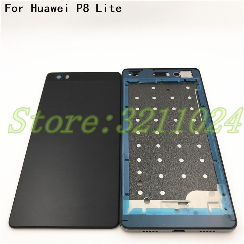 Nova tampa da bateria para huawei p8 lite tampa da caixa lcd quadro frontal + tampa traseira da bateria + adesivo médio quadro adesivo + botões