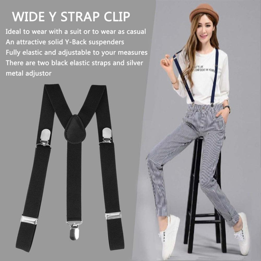 Mens Womens White Dots Clip-on Suspenders Elastic Y-Shape Adjustable Braces