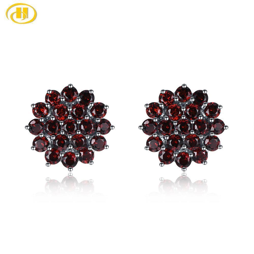 Kadınlara 925 için Hutang Garnet Gümüş saplama Küpe Gümüş Doğal Red Stone İnce Şık Taş Takı Hediye CX200628 3.16ct