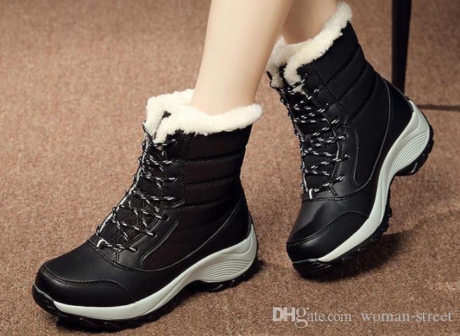 Большой размер зимние сапоги женщины теплый снег сапоги зимние женщины согреться Обувь женская середины икры сапоги на платформе 2019 женщина обувь
