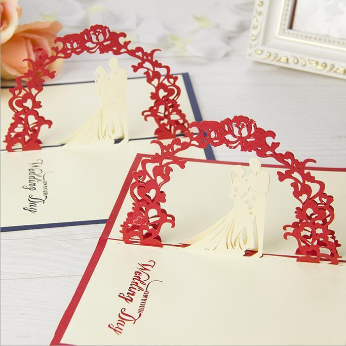 Fashion Valentine Day Wedding Cards Invitations Delicacy Gift Handmade Creative Pop UP Gift 10*15cm Red Color