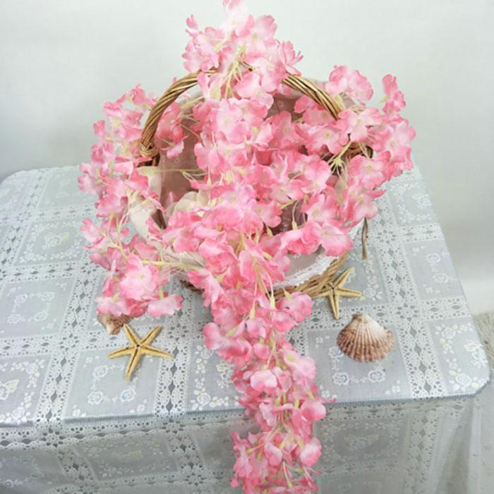 Yapay Sahte İpek Kiraz Çiçek Vine Düğün dekorasyon el yapımı çiçek Garland Düğün / Ev / parti Dekor Dekoratif çiçek açar