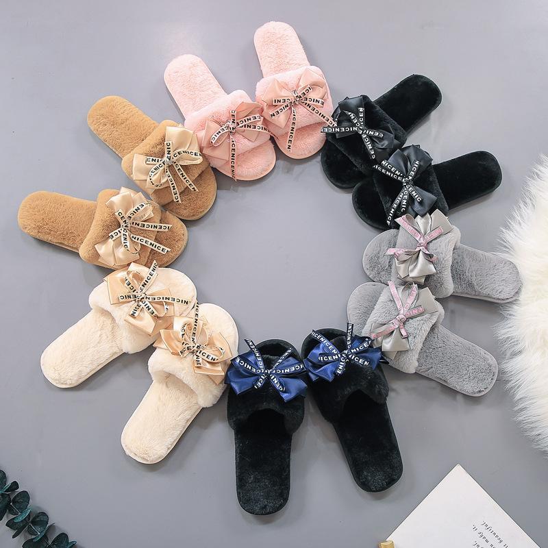 Kız Ilmek Terlik Kış Sıcak Kürk Terlik Kadın Peluş Ev Ayakkabıları Sıcak Rahat Düz Topuk Terlik Kabarık Peluş Ayakkabı GGA2489