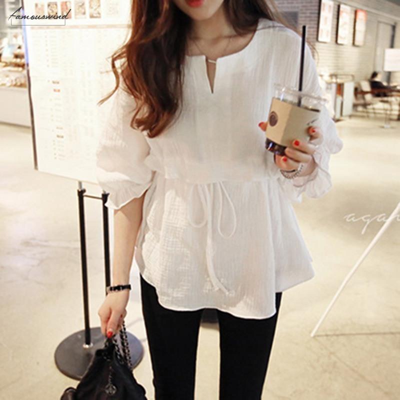 2020 봄 모델 세븐 포인트 슬리브 캡 슬리브 코튼과 리넨 라운드 넥 타이 셔츠 여성 뻗 셔츠의 한국어 버전