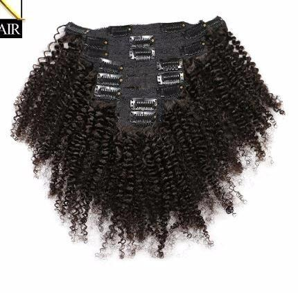 2019 Kinky Curly Brazilian Remy Hair Weave Bundles Clip In Human Hair Extensions Natural Color Full Head 8pcs/set 120g