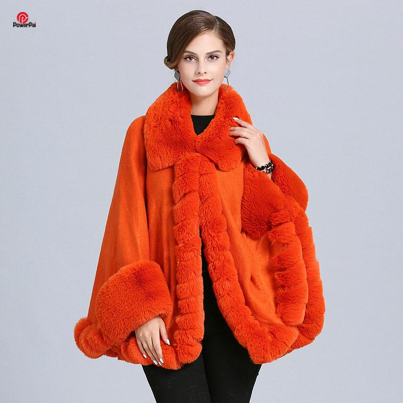 EuropeStyle Lapel Handcraft Wave Fur Cape Coat Loose Knit Cashmere Jacket Shawl Faux Fur Cloak Cardigna Women Fall Winter