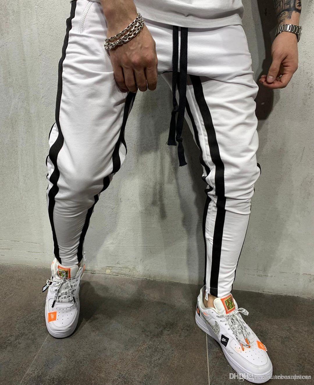 Pantalones de los hombres de Otoño de diseño deportivo del basculador de los pantalones a rayas Casual Male lápiz pantalones pantalones deportivos