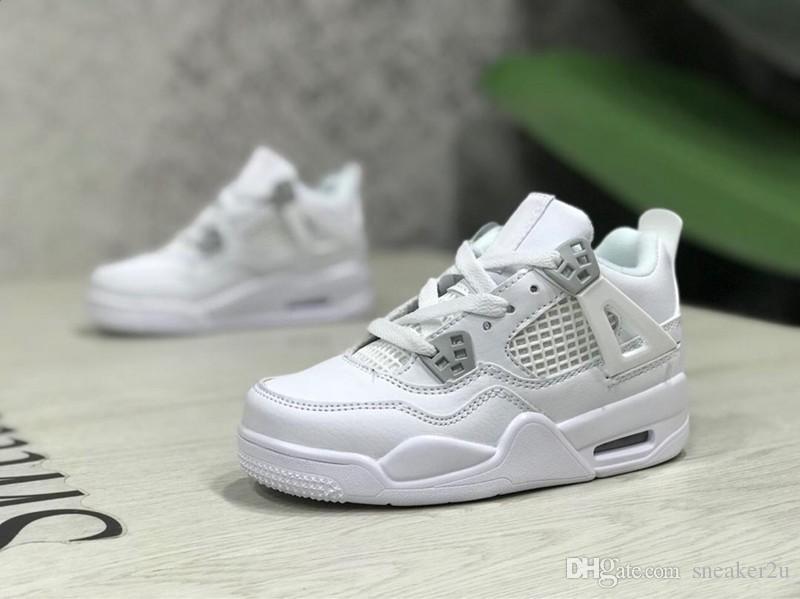 Kids 4 PURE MONEY Zapatos de baloncesto para niños 4 CAVS Calzado deportivo de moda zapatillas al aire libre US 11c-3y