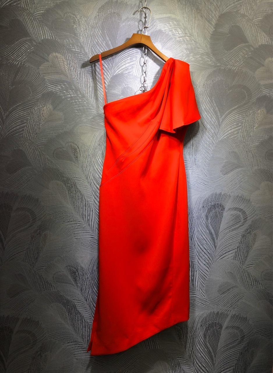 2020 Plaza de la manga del resorte cuello corto Rojo / Negro Sólido color del remiendo de la rodilla-longitud cauce de la manera Vestidos Vestidos LTM221635 MCC