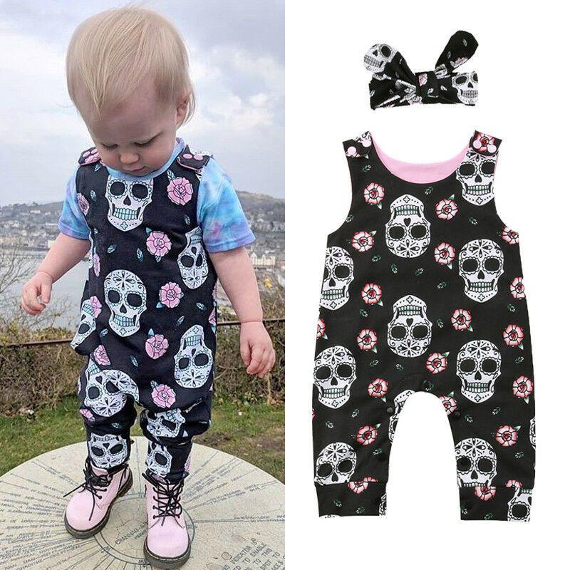 Pudcoco Yeni Geliş Cadılar Bayramı Yenidoğan Tulumlar Erkek Bebek Kız Kafatası Romper Tulum 2pcs Kıyafet Giyim