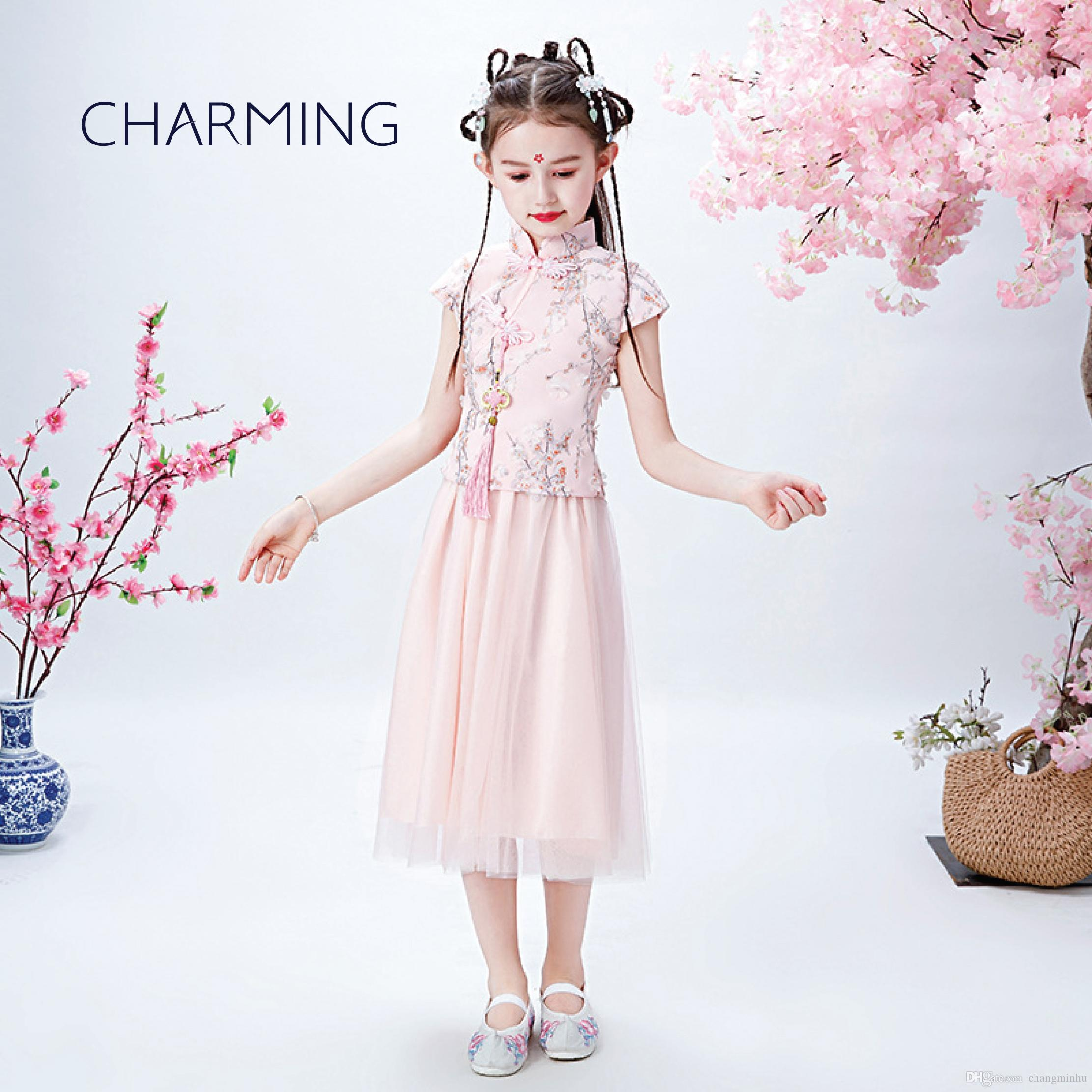 children dress Children's Chinese style dress girls holiday dress pretty dresses for girl kids party dresses
