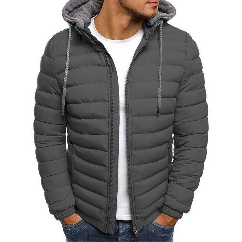 Chaud léger hiver Veste Hommes Parkas Hommes rayé solide poche zippée Trench en coton à capuche Parkas Homme 2019 Vêtements