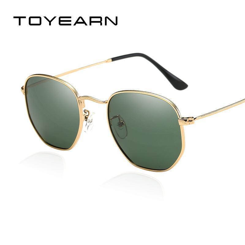 TOYEARN Luxus Strahlen Markendesigner Hexagonal Polarisierte Sonnenbrille Frauen / Männer Vintage Spiegel Sonnenbrille Weibliche oculos de sol