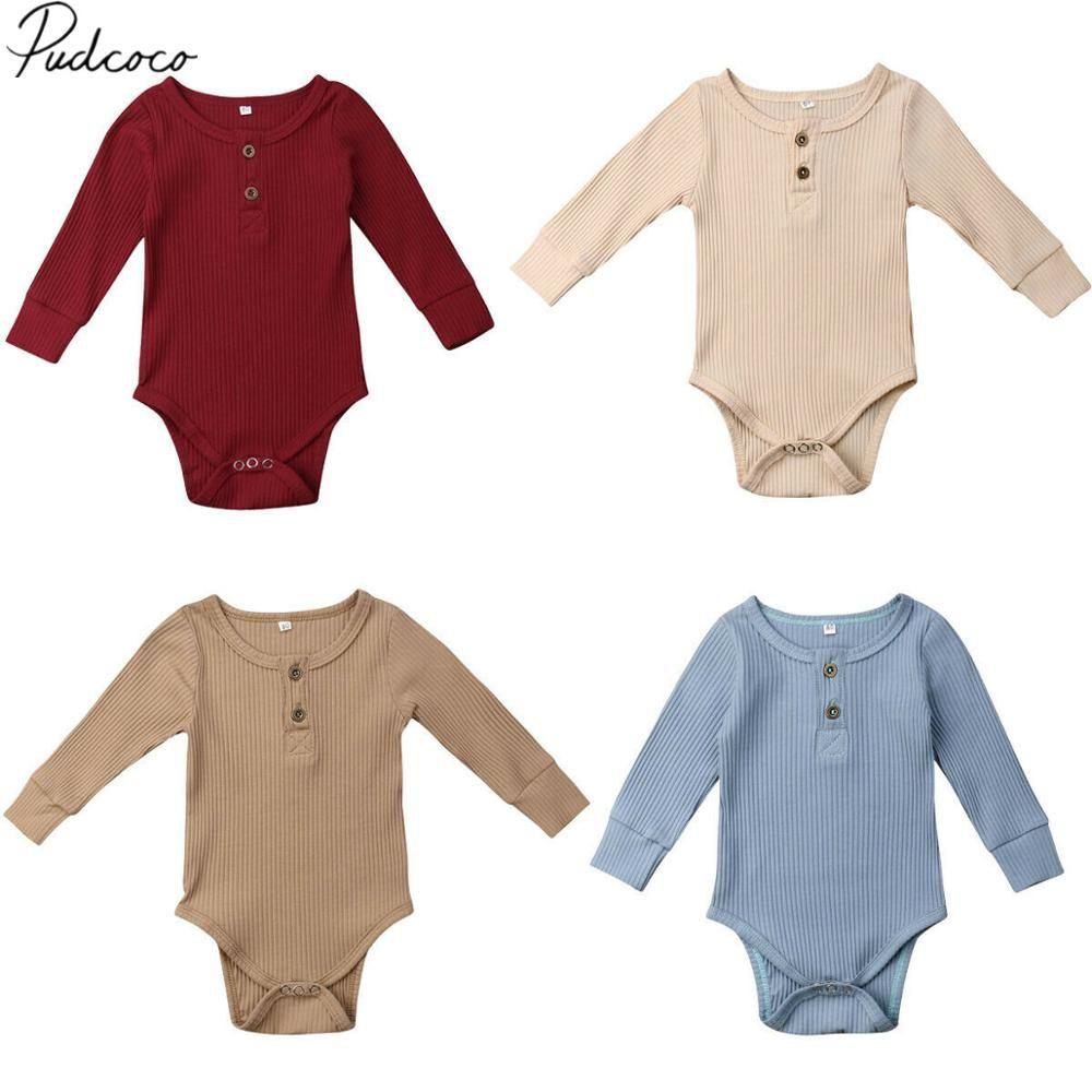 PUDCOCO niño recién nacido bebés de los muchachos, ropa del niño mono del otoño acanalado sólido del algodón del mono de manga larga Ropa de bebé