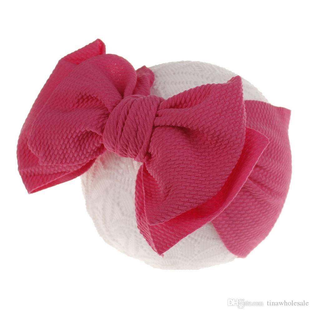 14 цветов Детей Девочка Stretch тюрбан узел стяжка малыши Baby Girl Big Bow Knot Hairband Solid Headwear Head Wrap диапазон волосы аксессуары