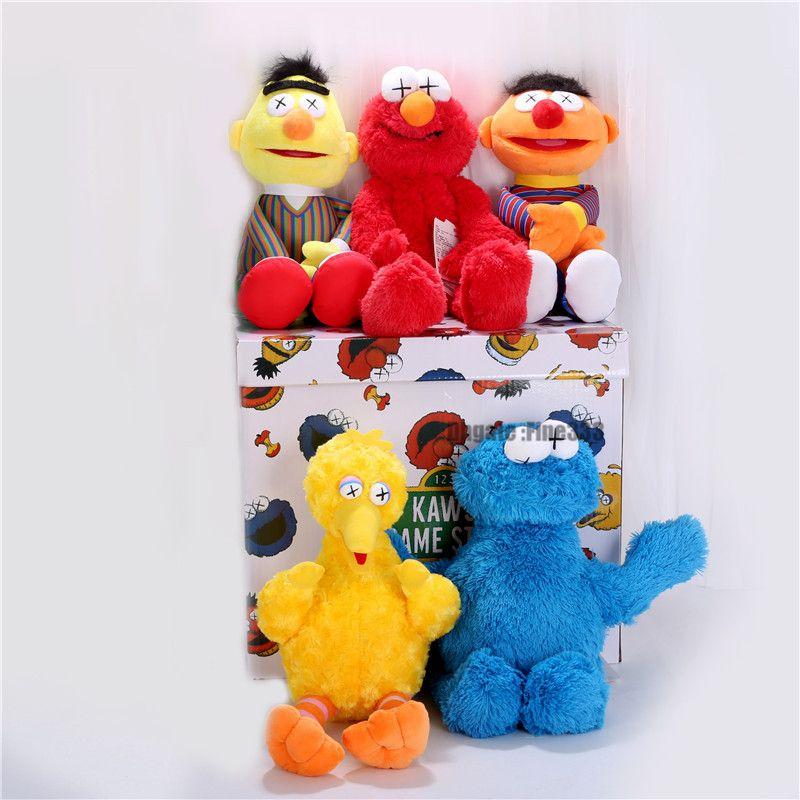 Sesame Street & KAWS 5 Models Plush Toys ELMO/BIG BIRD/ERNIE/MONSTER Stuffed Best Quality Great Gifts For Kids
