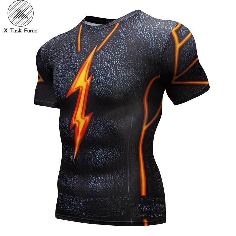 Camiseta estampada para hombre Camiseta de superhéroe 3-d Animación Costura Ropa ajustada para hombre Short Slim Tops Tee Homme