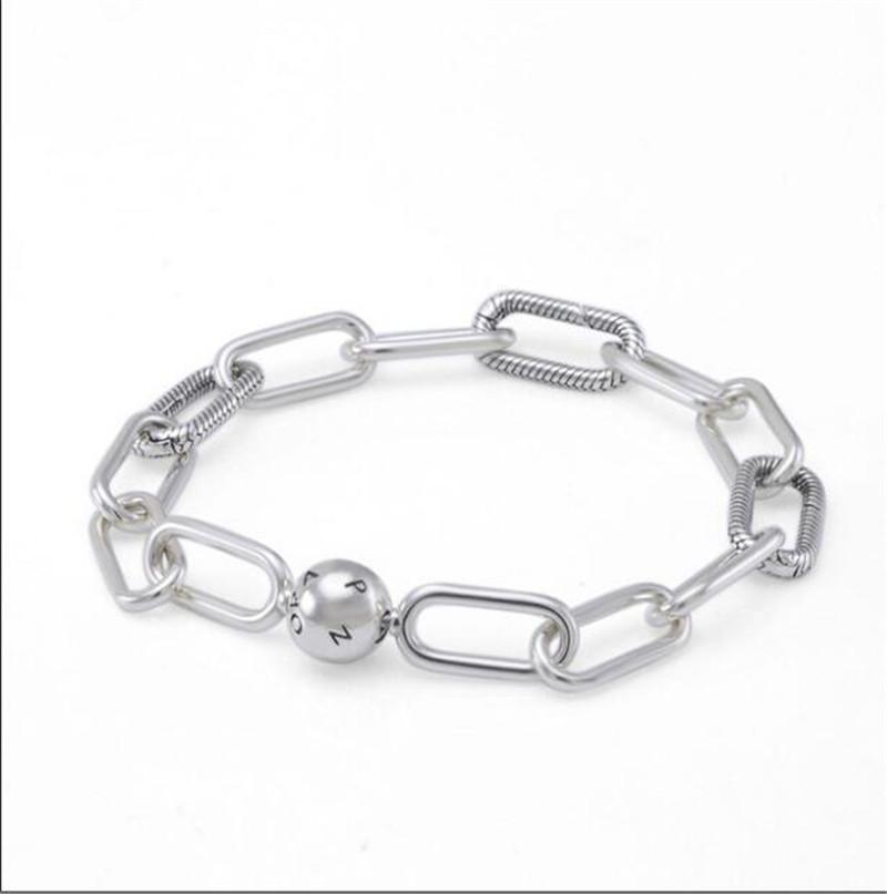 Gerçek S925 Gümüş Charms Bilezikler Me Collecction Chunky Bağlantı Bilezik Bileklik Fit For Pandora DIY Boncuk Charm