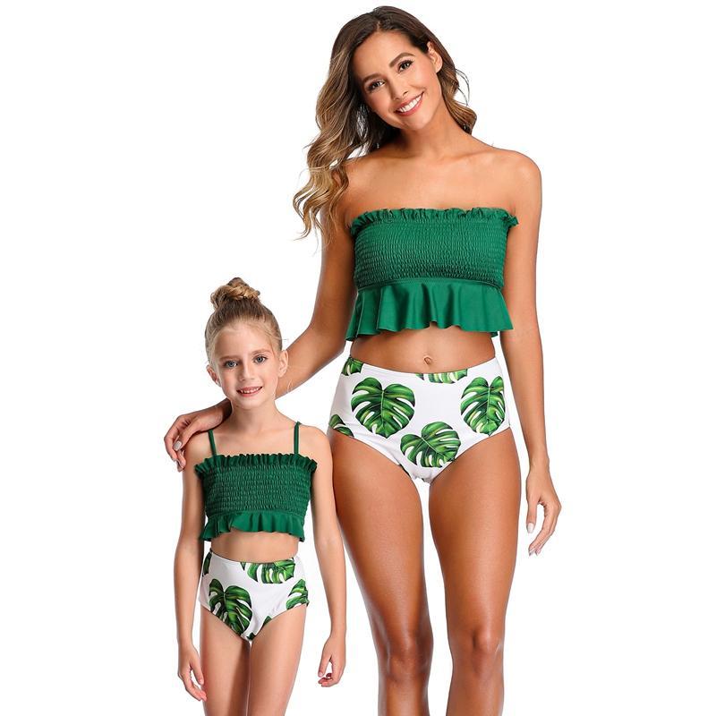 Les filles plissés Volants Bikini famille Matching maillot de bain taille haute Swimsuit Enfants Tube Top Bikini Mère fille Maillot de bain 2020