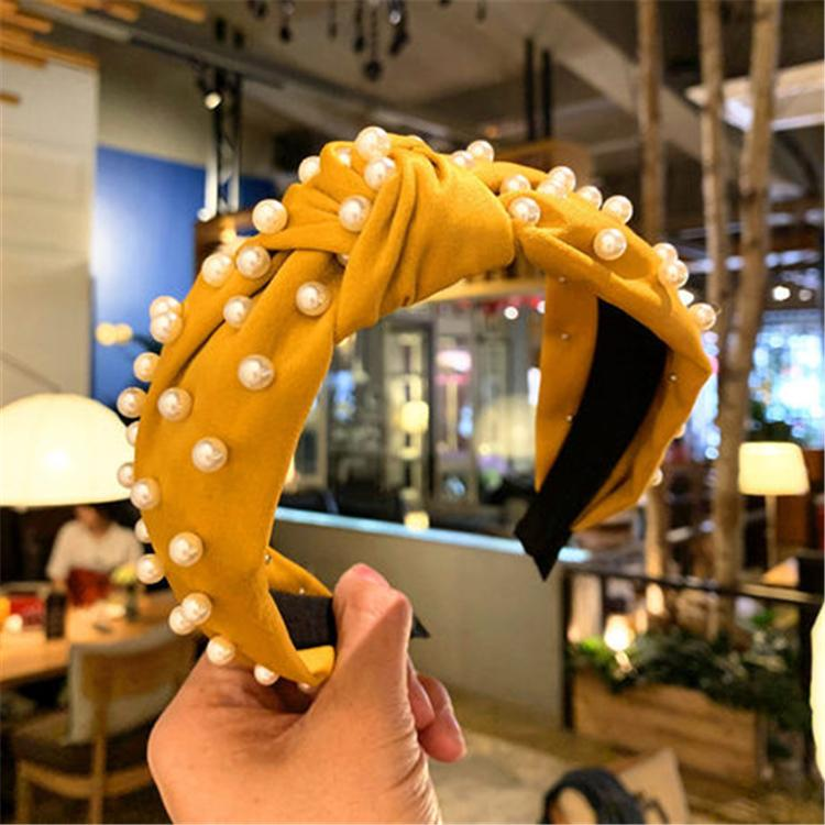 Boutique Pearl Hair Sticks Sólido Coral Paño Pelo anudado Banda para Mujeres Pelo DIEADA Vintage Estilo Accesorios para niñas Hairband ZFJ821