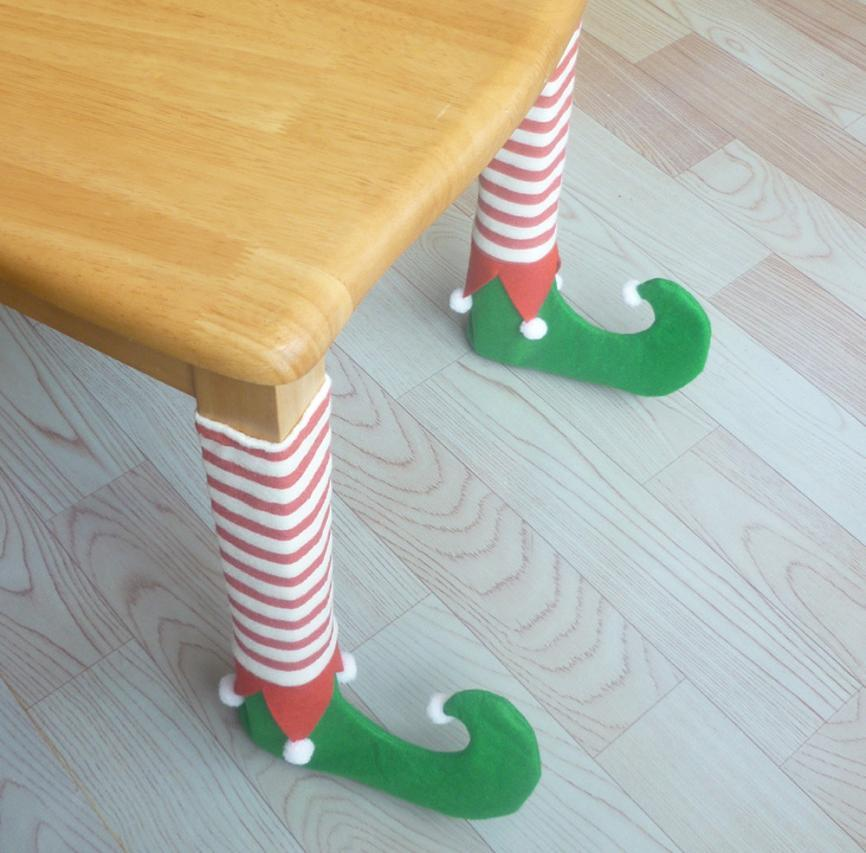 4pc Christmas Decoration For Home Chair Leg Foot Cover Table Decoration for Party Dinner Christmas 5O1025