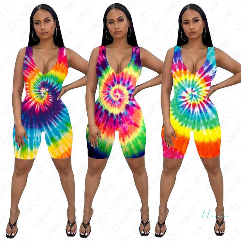 Mulheres Macacões Sexy V-neck macacãozinho Primavera-Verão Roupa Bodycon One Piece Shorts Tie Dye Moda Bodysuit mangas Macacões D42205