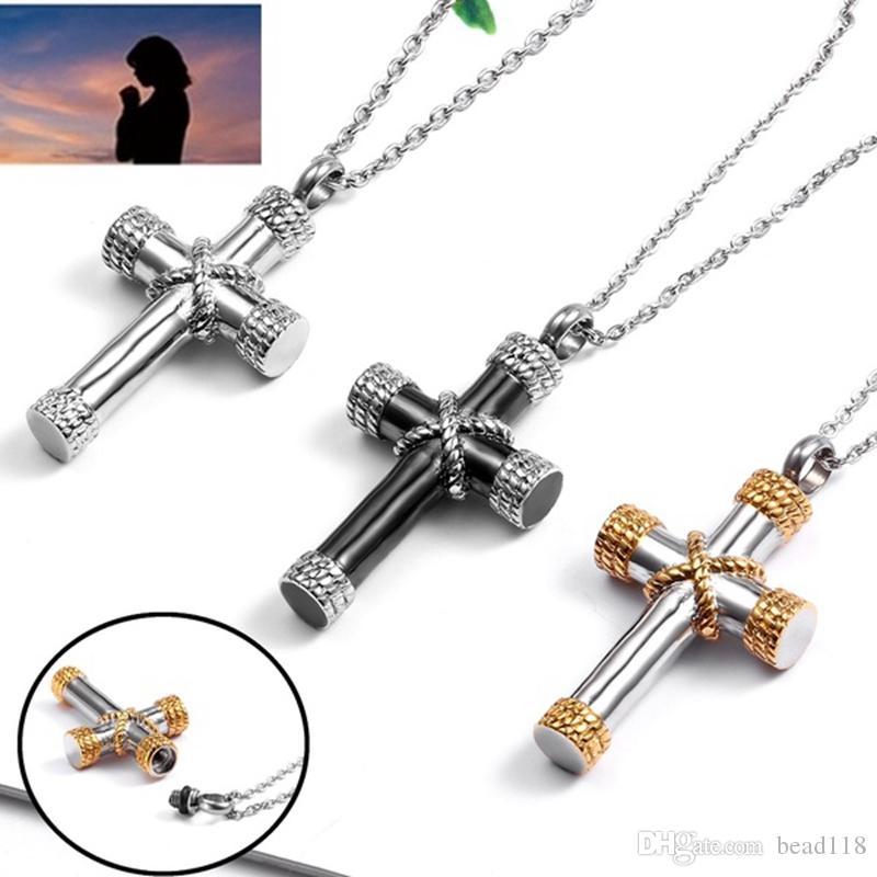 3pcs / lots titane acier ouvrant bouteille de parfum de parfum de la corde croix pendentif collier boîte urne pour hommes et femmes accessoires T-65