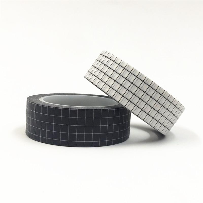 2019 10M Black White Pink Grid Washi Tape Set Japanese Paper DIY Planner Masking Tape Adhesive Tapes Stickers Decorative Stationery 2016