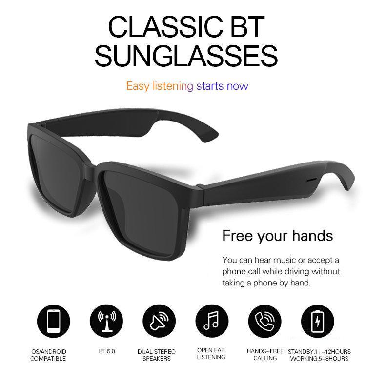 1 pièce! Lunettes de soleil Bluetooth audio sans fil avec une technologie d'oreille ouverte Faites des lunettes de soleil mains libres Bluetooth Headfton Appels mobiles sans fil