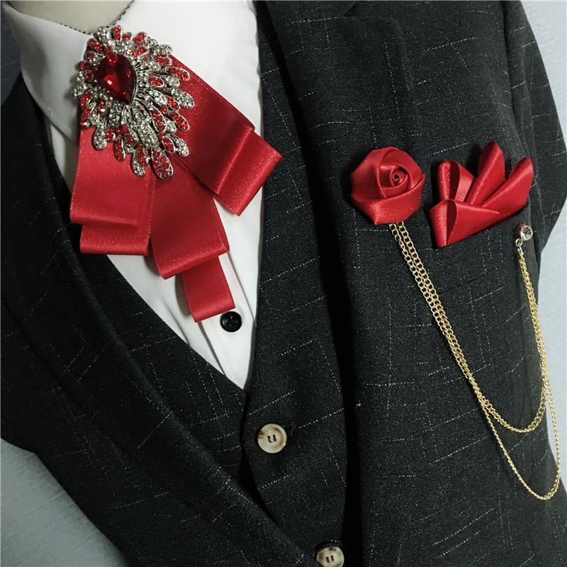 Men Ribbon Bow Tie Handkerchief Alloy Chain Flower Brooch Pocket Square Set Groom Wedding Party Shirt Necktie Rhinestone Bowtie