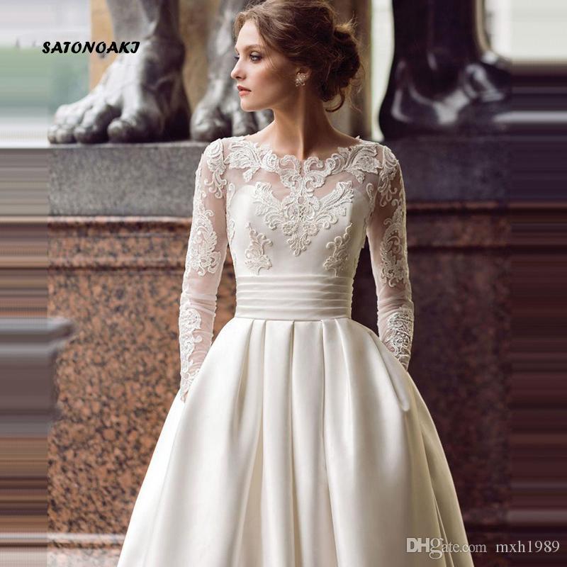 Abito da sposa modesto manica lunga 2020 Scoop raso appliqued una linea Abito da sposa con tasche Abiti da sposa