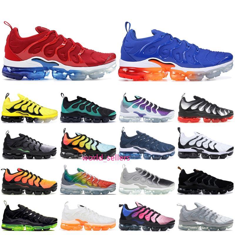 2019 Overbranding Noir Tn plus arc-en-photo bleu Chaussures de course Hommes Femmes Chaussures Blanchi Aqua Stripe Balck Baskets Designer Shoes