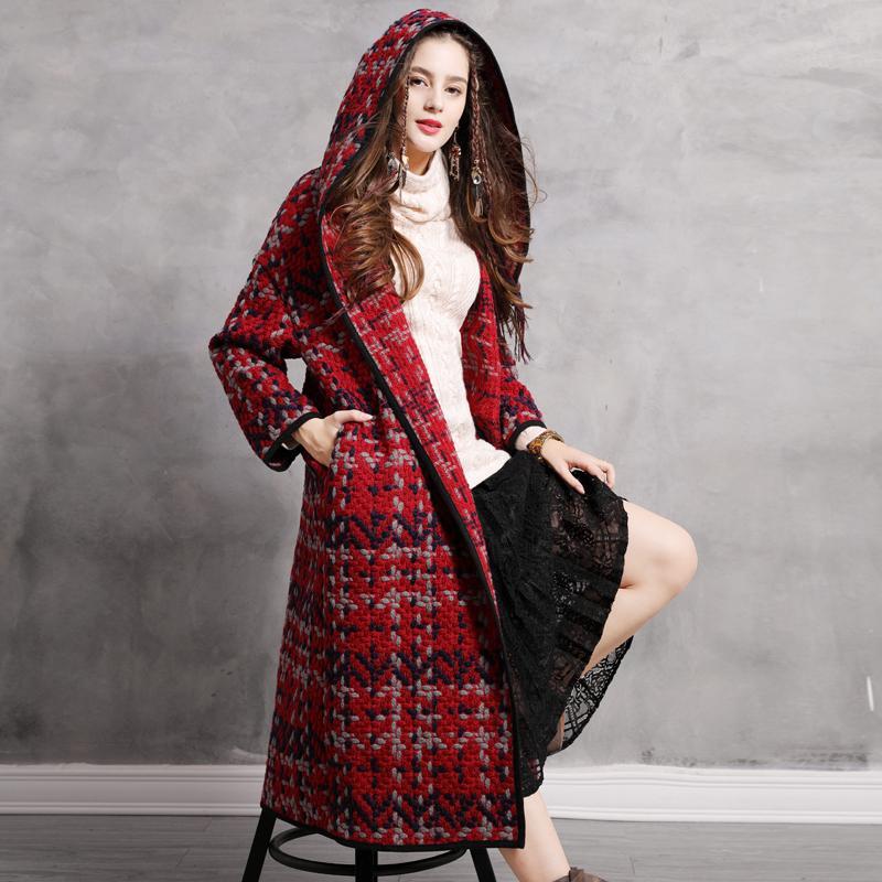 Mulheres Coats 2018 Keer Thicken Vintage Inverno misturas de lã com capuz manga comprida Wide-cintura lã Coats B9278 Boho Feminino Casaco