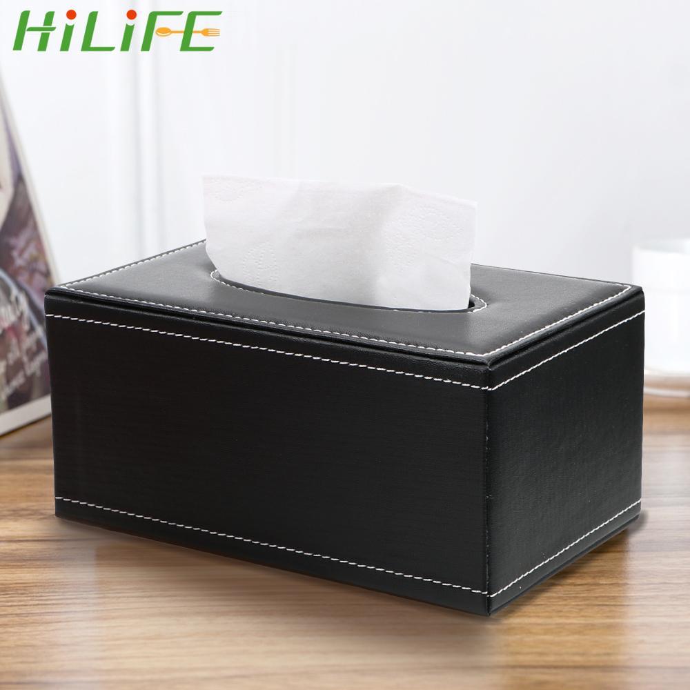 HiLife Rechteckige Seidenpapier Serviette Box Anti-Feuchtigkeit PU-Leder Tissue Box Home Küchenorganisation Lagerung Papierhalter