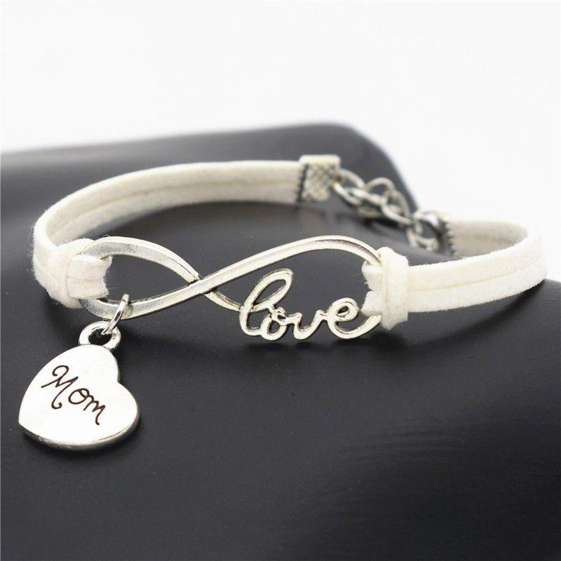 Plaited Leather Bracelet Step Mum Love Heart Gem Charm I Love You
