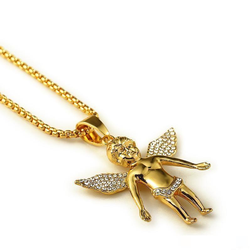 18K Real Gold Plated Men's hip hop Boy angel crystal wing Pendant Necklace 80cm Long High Quality Rock Hiphop Big Necklace men Chain