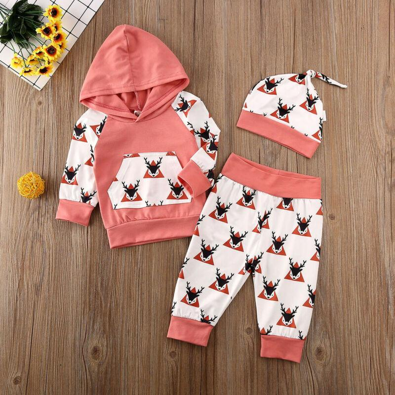 Bebê recém-nascido animal menina impressão roupa com capuz manga comprida Tops Elastic calças compridas Leggings alça Outfits Set Outono Inverno